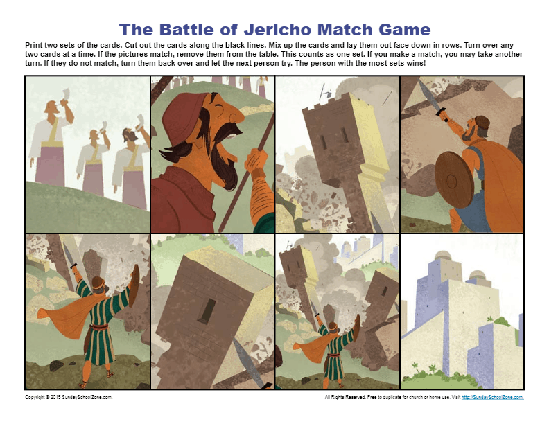 The Fall of Jericho Printable Bible Activities on Sunday School Zone