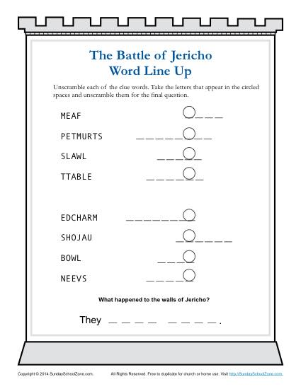 The Battle of Jericho Word Lineup