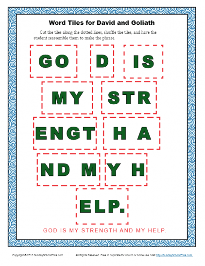 Free, Printable David and Goliath Bible Activities on Sunday ...