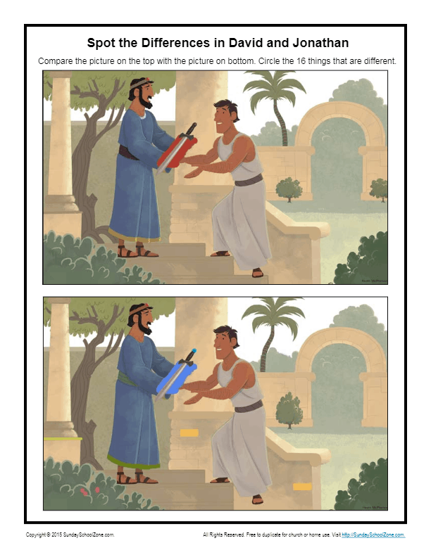 David And Jonathan Spot The Differences Children S Bible