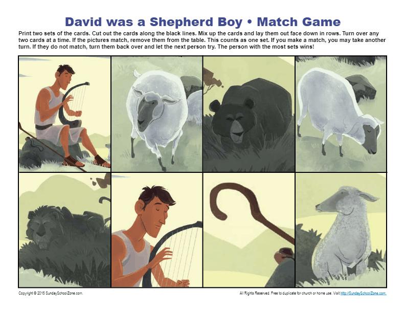 David Was A Shepherd Boy Match Game Children S Bible