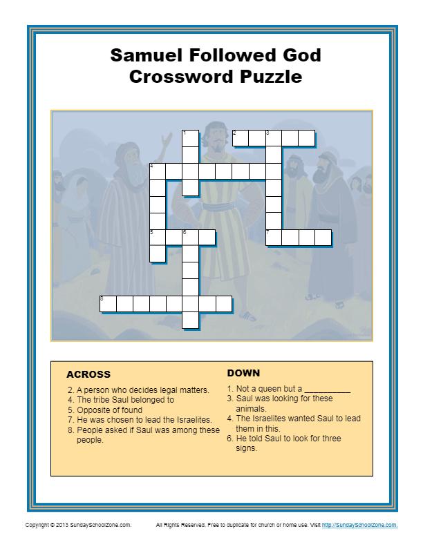 Samuel Followed God Crossword Puzzle Children 39 s Bible Activities Sunday School Activities
