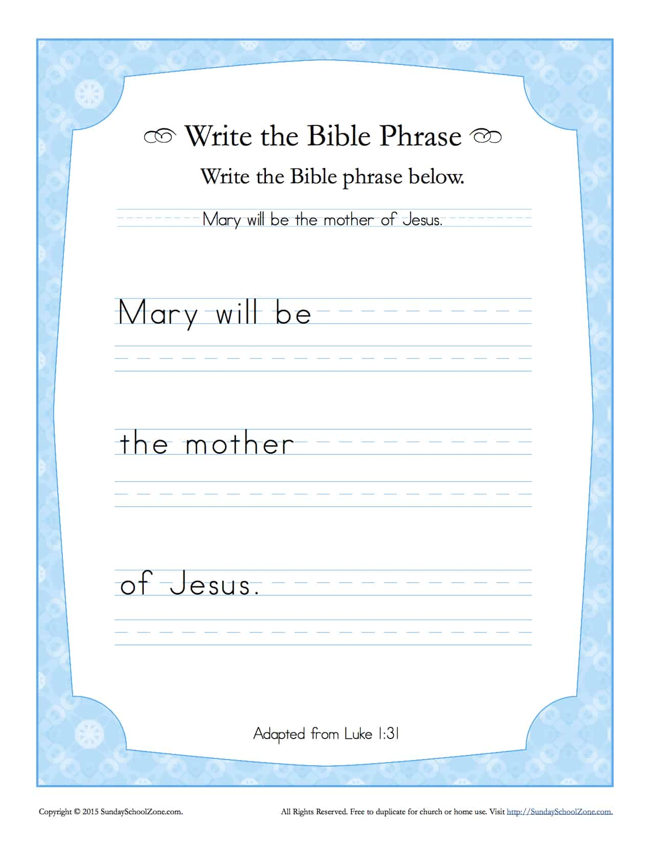 Luke 1 31 Write The Bible Phrase Worksheet Children S