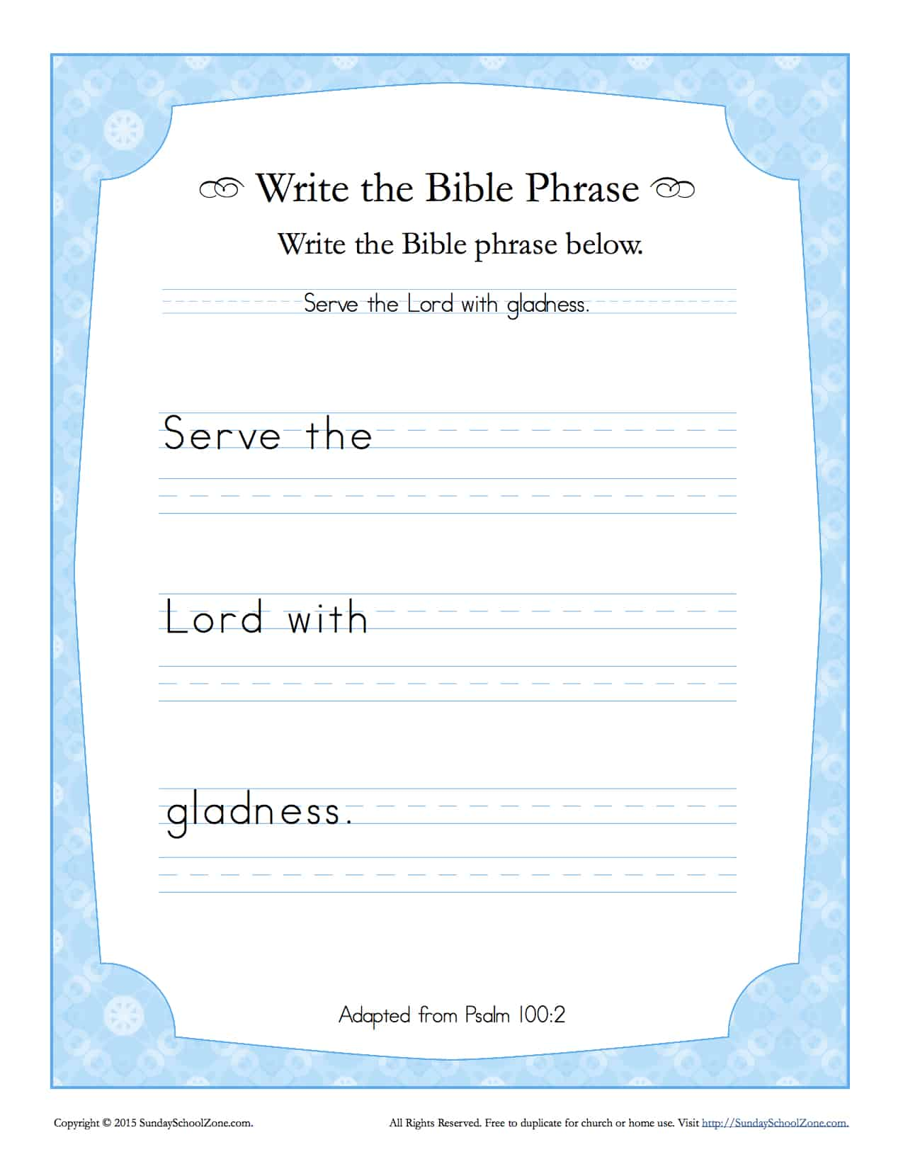 Psalms 100 2 Write the Bible Phrase