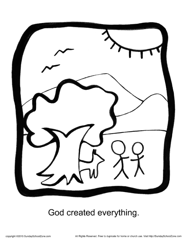 God Created Everything Story Icon Coloring Page - Children ...