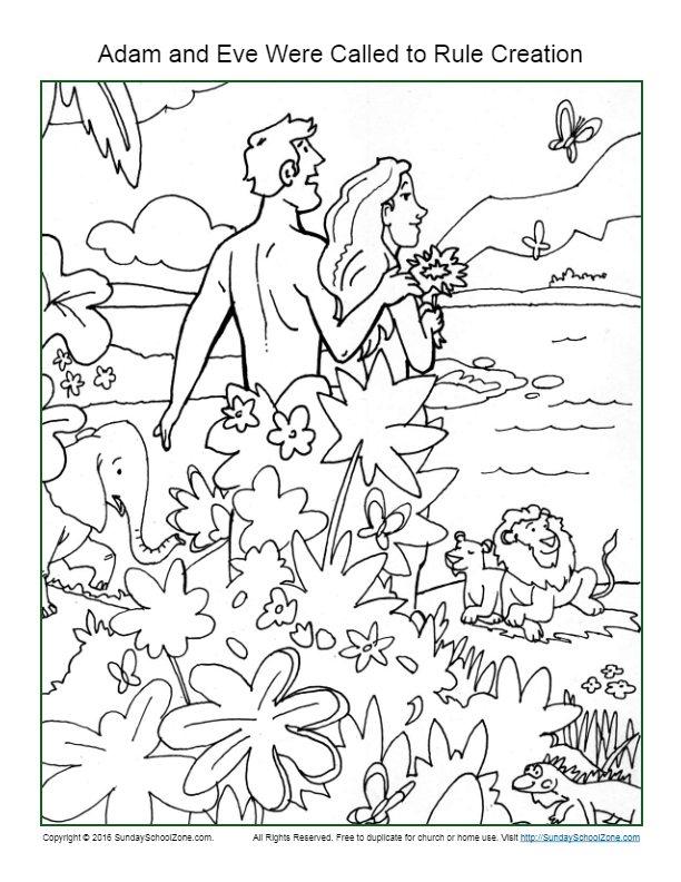 Adam and Eve Bible Coloring Pages - Mamas Learning Corner | 792x612