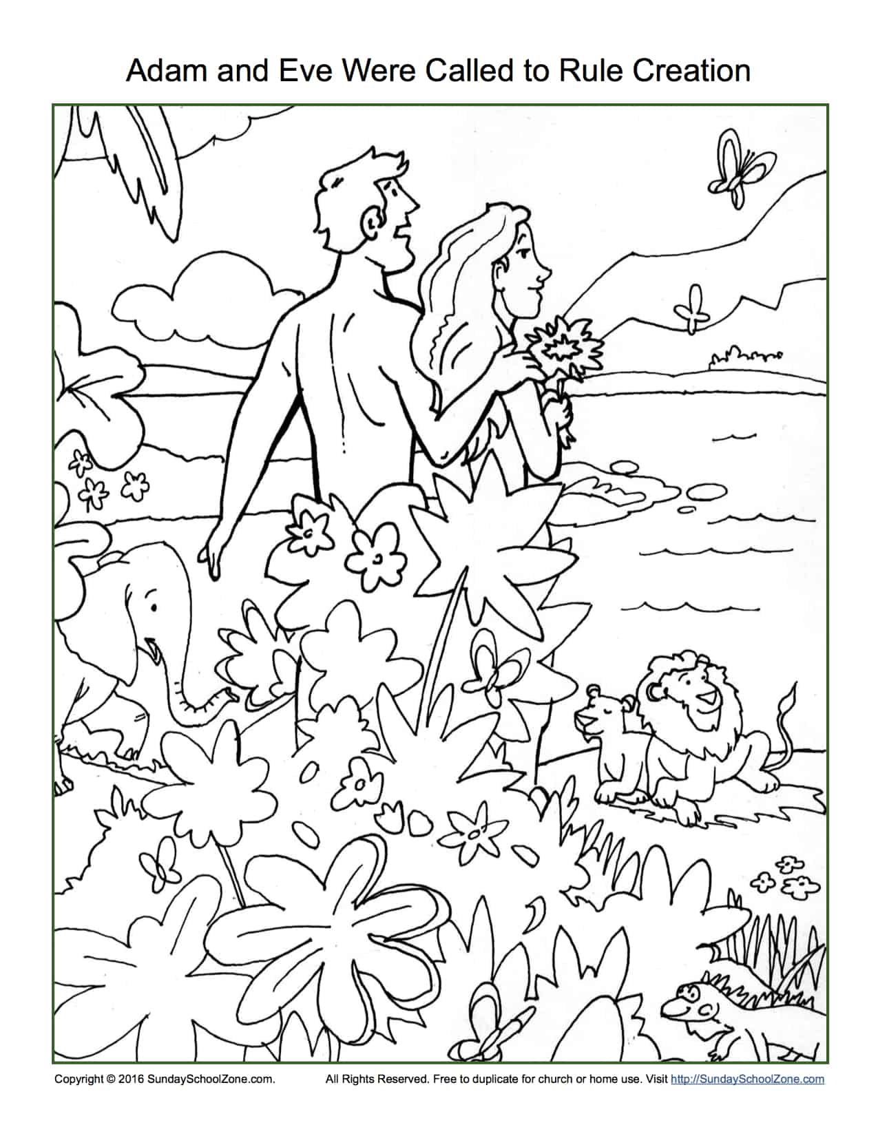 Adam and Eve Were Called To Rule Creation Coloring Page - Children\'s ...