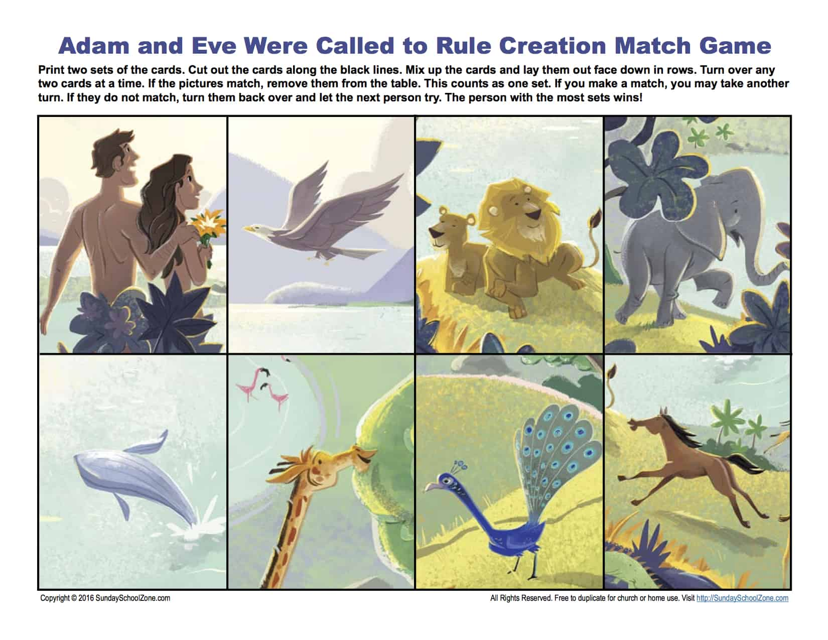 Adam and Eve Were Called To Rule Match Game - Children\'s Bible ...