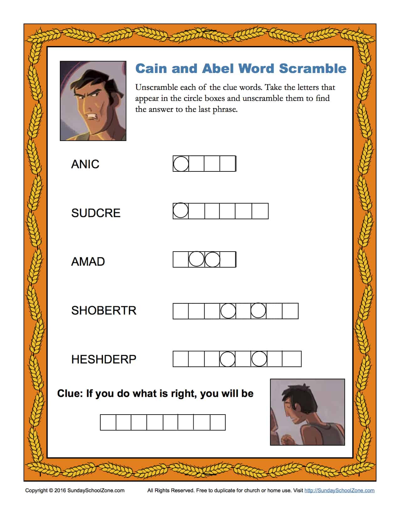 Cain and Abel Word Scramble Children 39 s