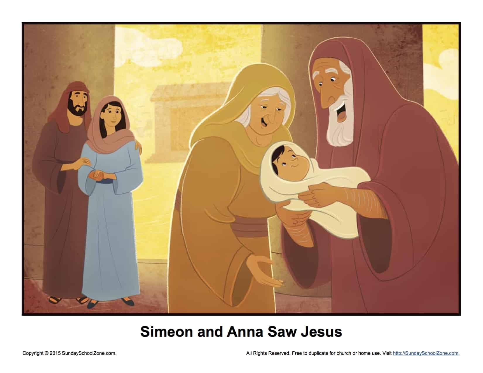 Simeon and anna saw jesus story illustration children 39 s for Simeon and anna coloring page