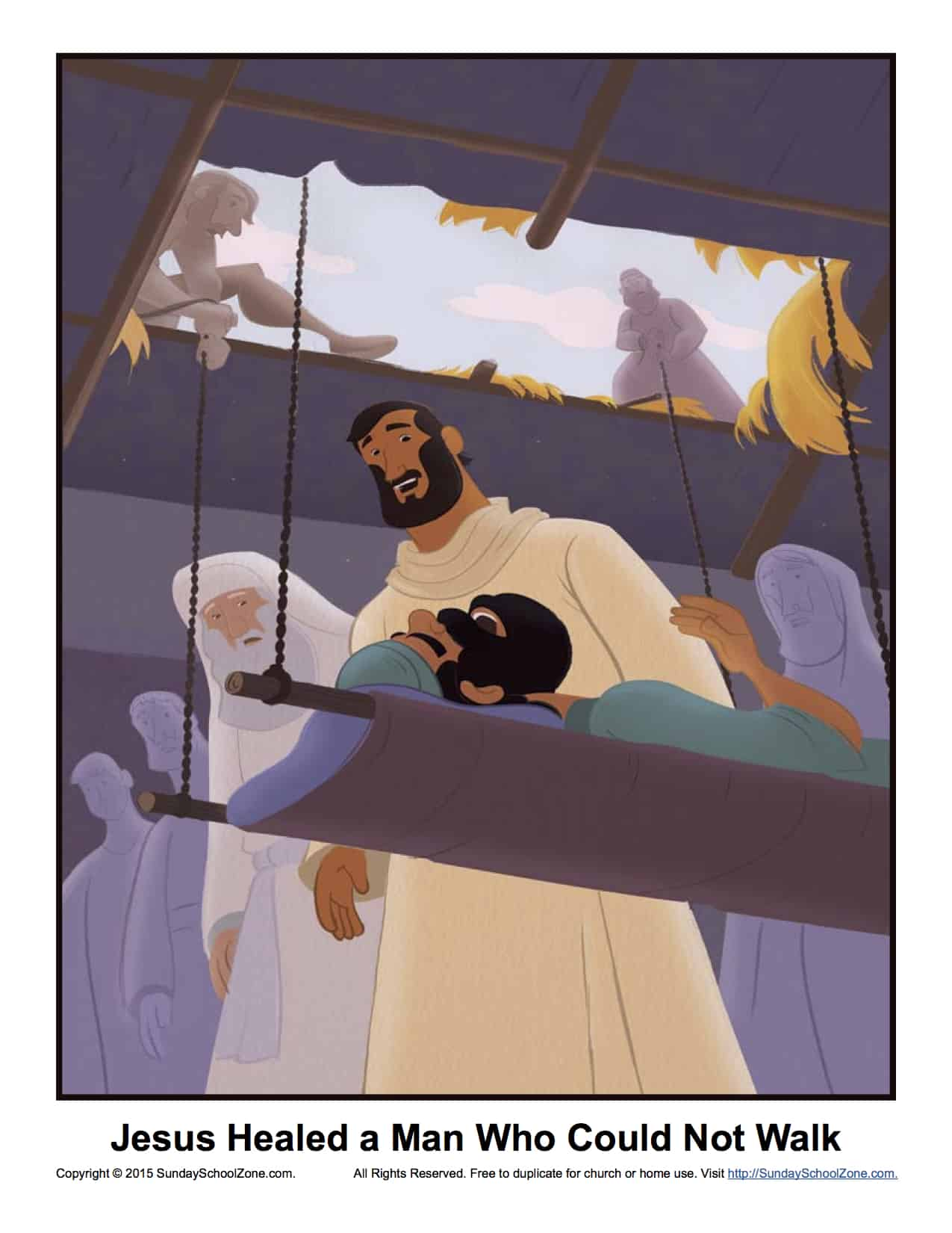 Jesus Healed A Man Who Could Not Walk Story Illustration