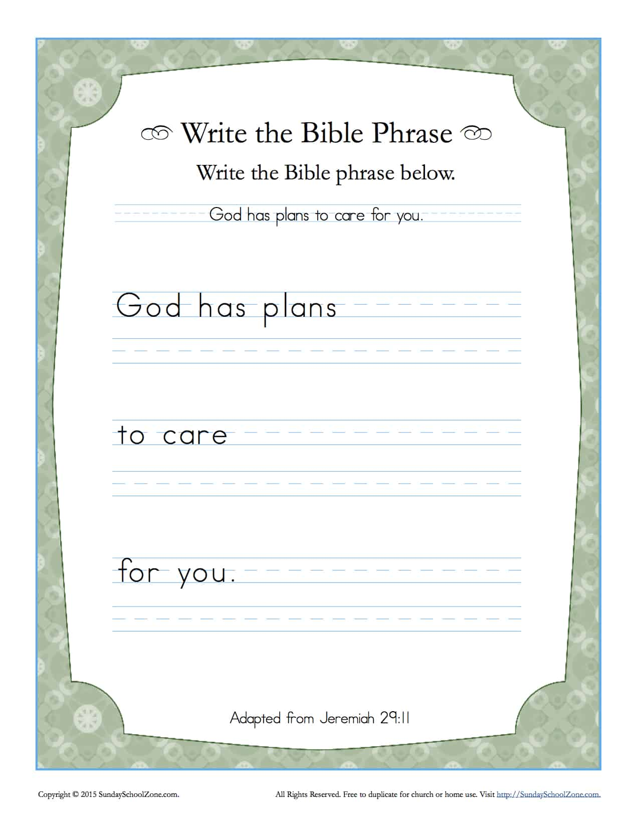 Jeremiah 29 11 Write The Bible Phrase Worksheet