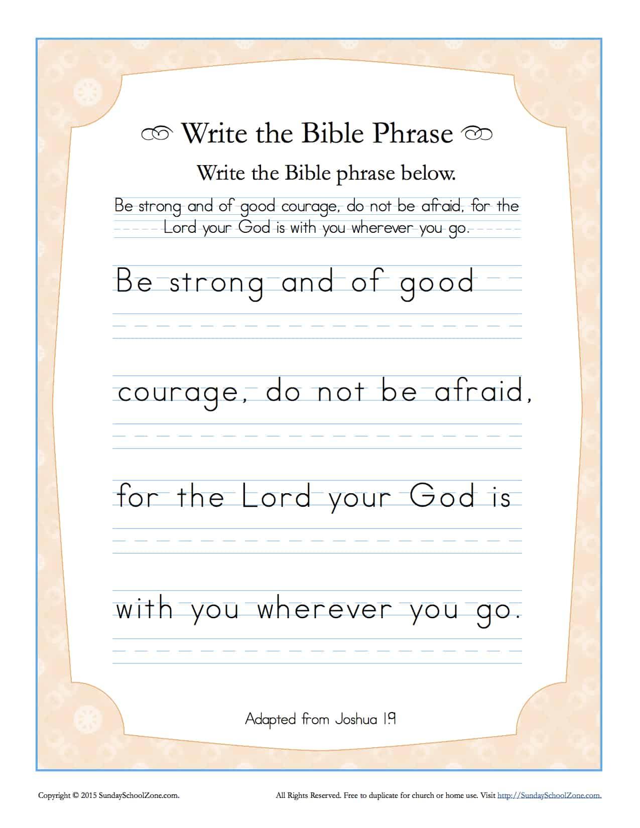 Worksheets Courage Worksheets joshua 19 write the bible phrase worksheet