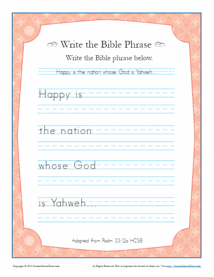 Write the Bible Phrase Archives - Children's Bible