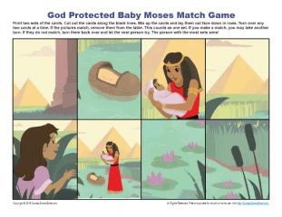God Protected Baby Moses Match Game Children S Bible
