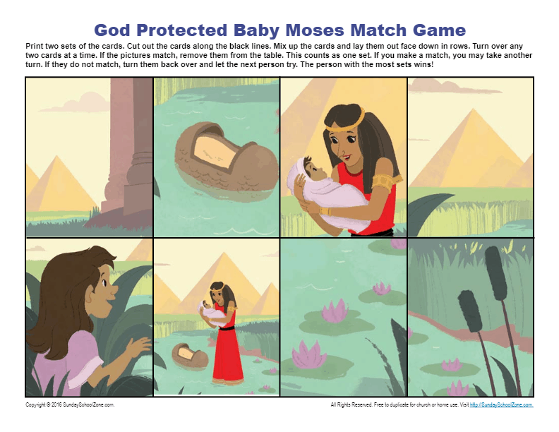 God Protected Baby Moses Match Game Children S Bible Activities Sunday School Activities For Kids