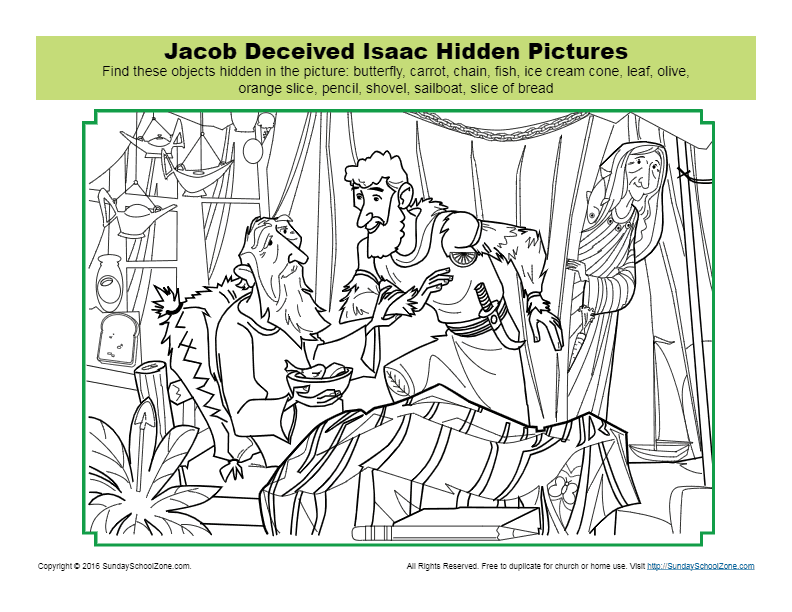 Jacob Deceived Isaac Hidden Pictures Activity Children S Bible Activities Sunday