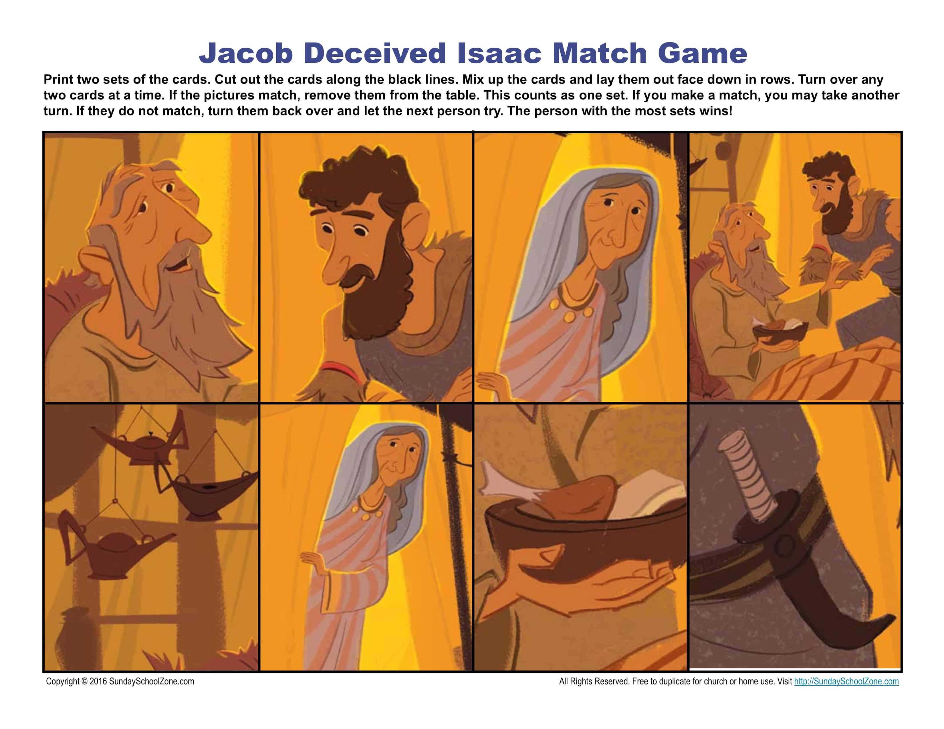 Jacob Deceived Isaac Match Game