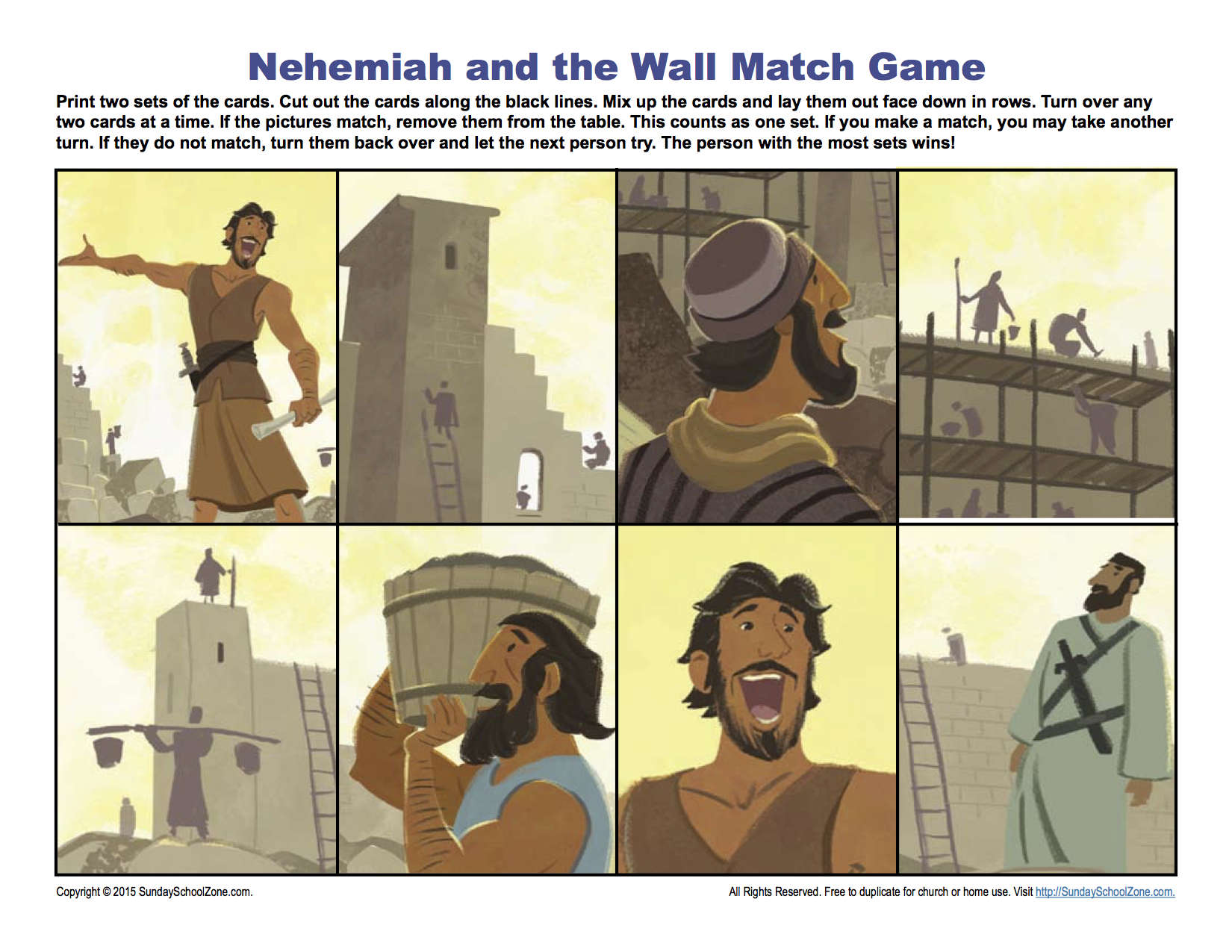 Nehemiah And The Wall Match Game Children S Bible
