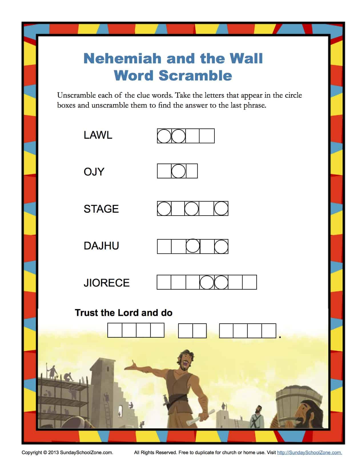Nehemiah And The Wall Word Scramble Children S Bible