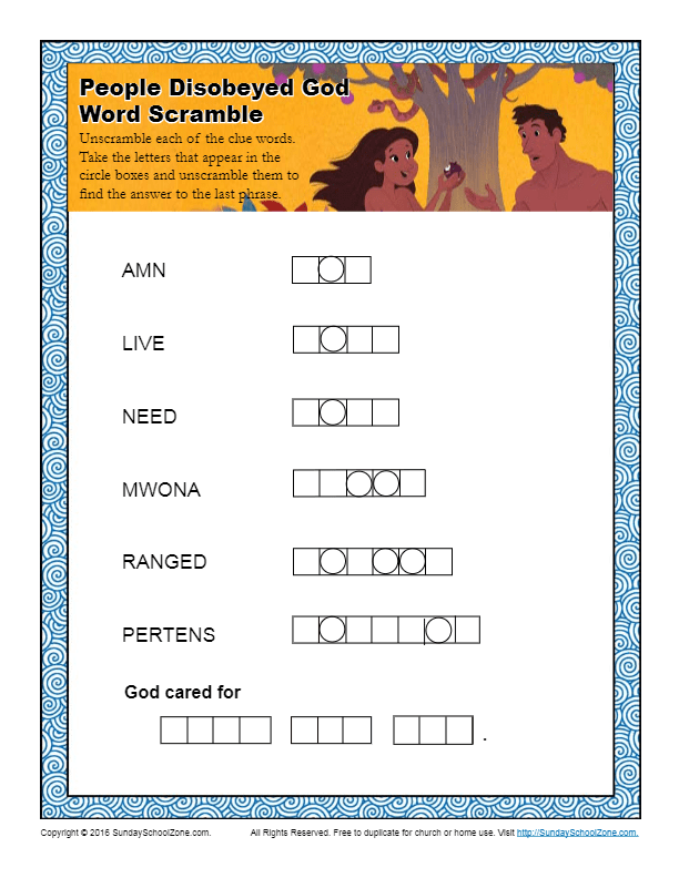 Word Scramble Puzzles | Bible Lesson Activities for Children
