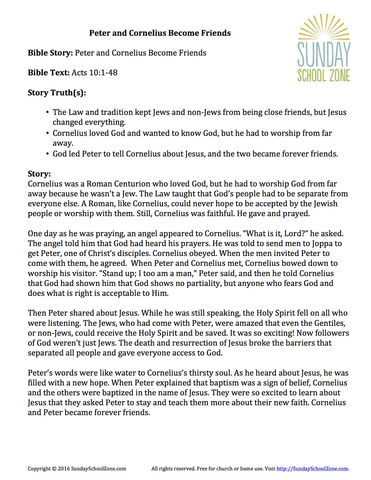 Peter And Cornelius Story Summary On Sunday School Zone