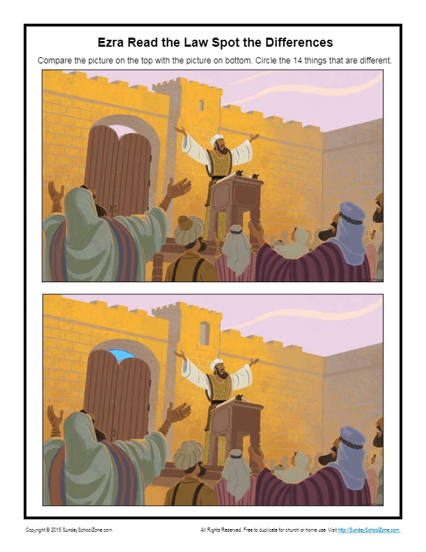 Ezra Read The Law Spot The Differences Children S Bible Activities