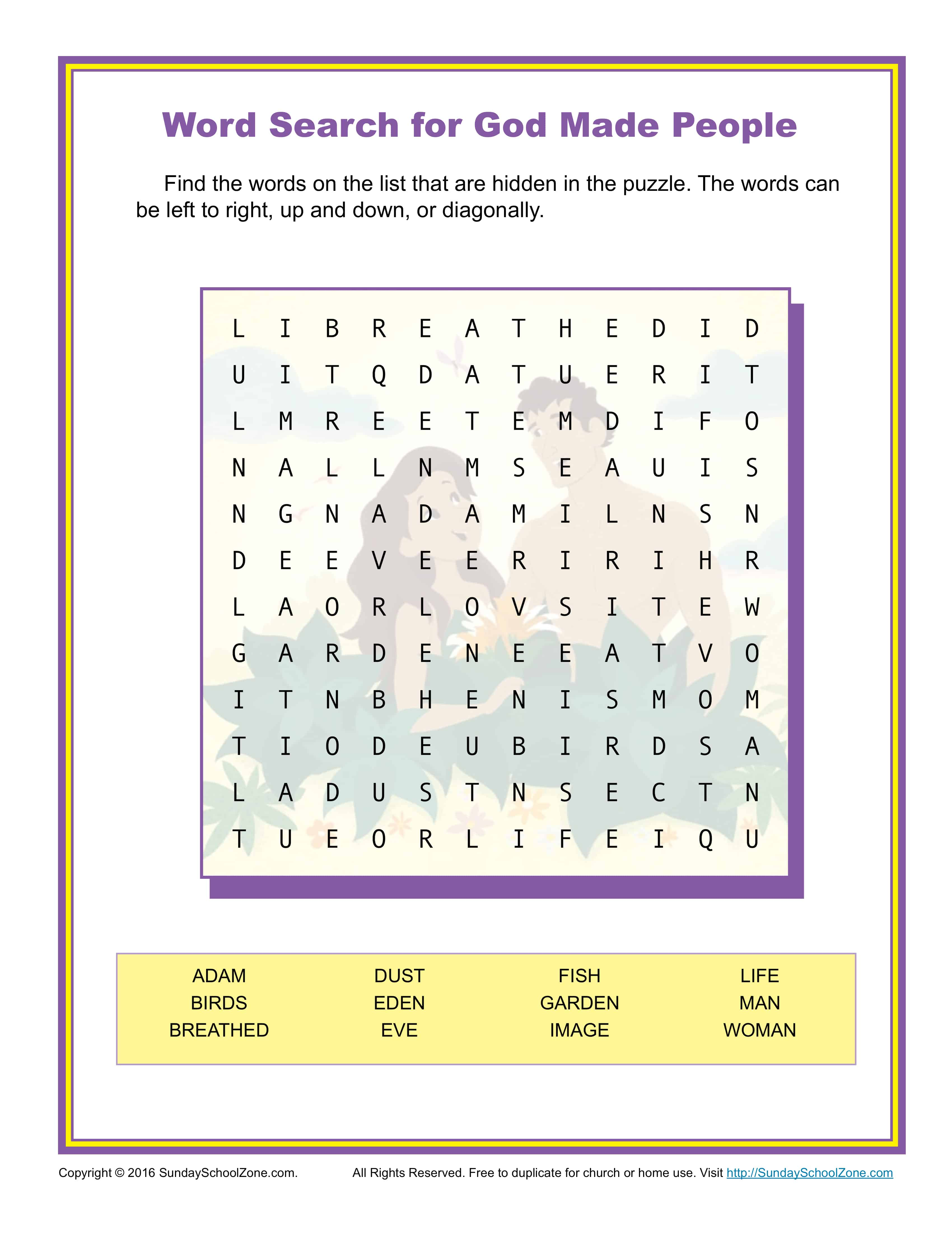 God Made People Word Search Children 39 s Bible Activities
