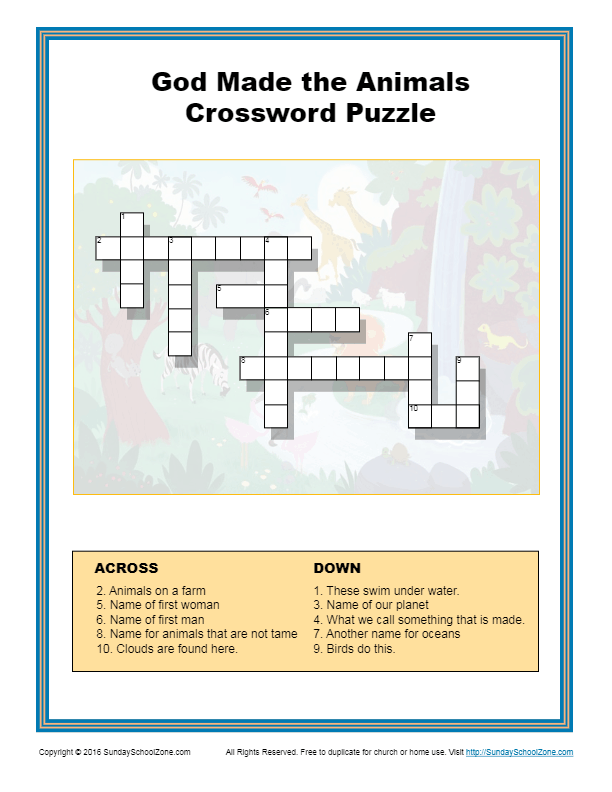 God Made The Animals Crossword Puzzle Children S Bible