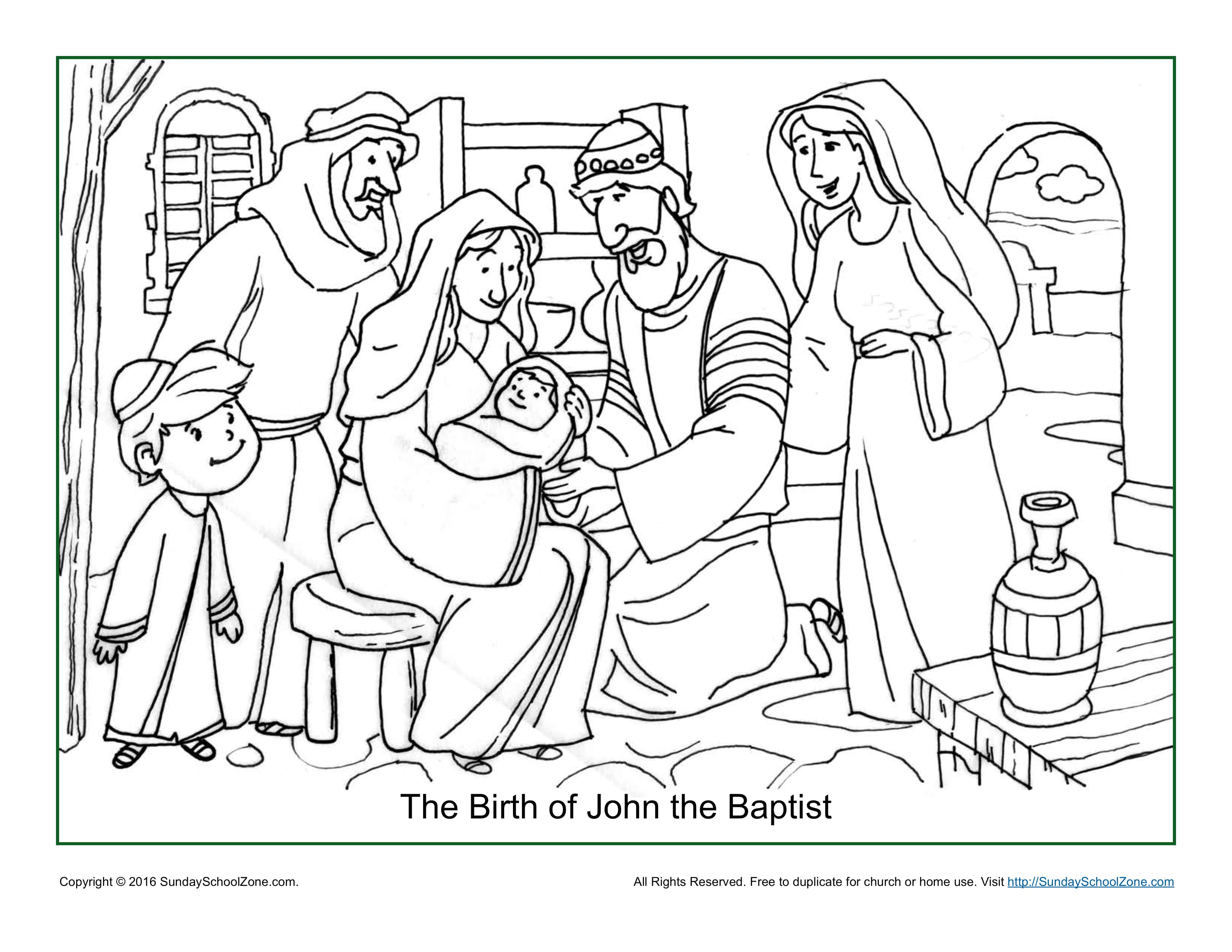 The Birth Of John Baptist Coloring Page