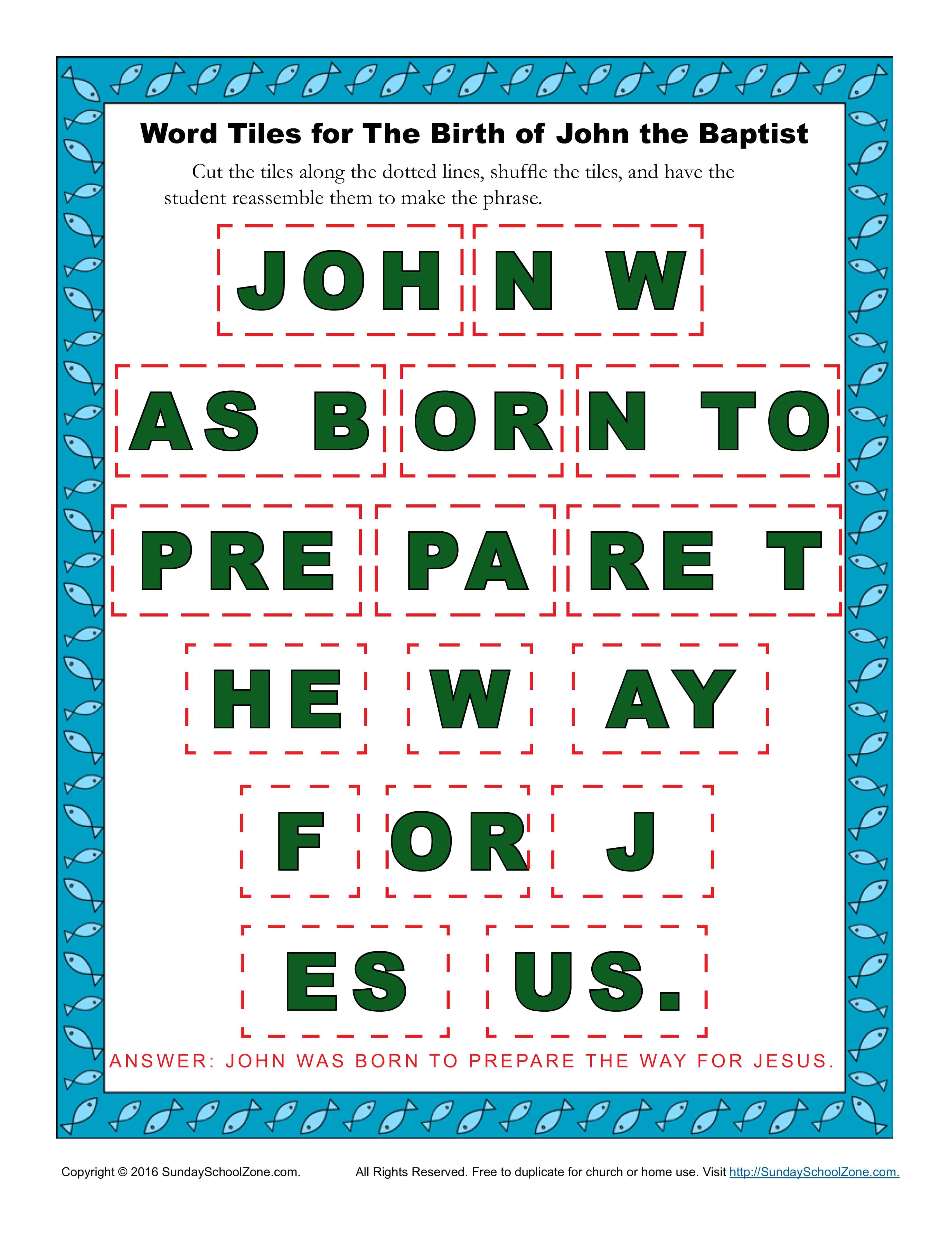 The Birth of John the Baptist Word Tiles - Children's ...