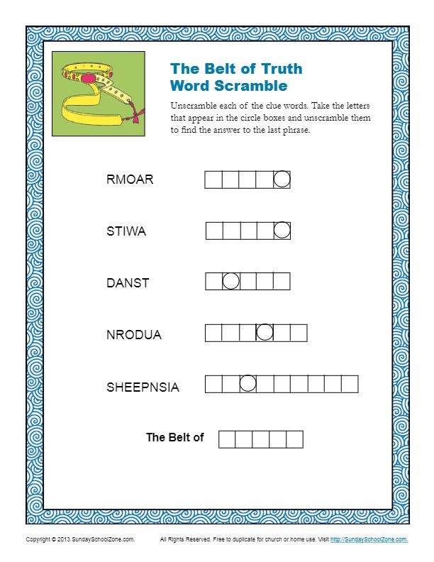 Belt of Truth Word Scramble Children 39 s Bible Activities