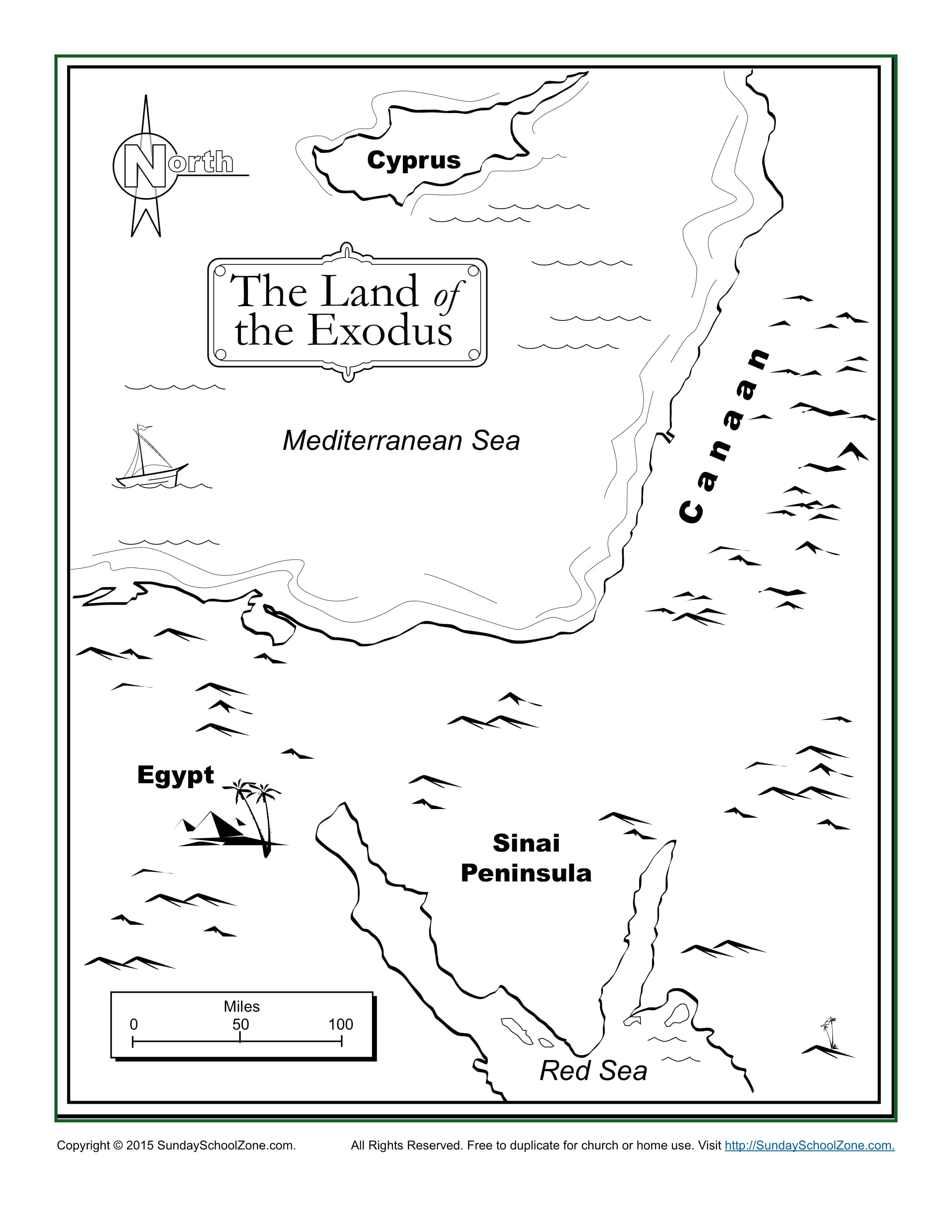 The Land of the Exodus Bible Map