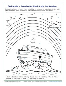 Color by Number Coloring Pages on Sunday School Zone