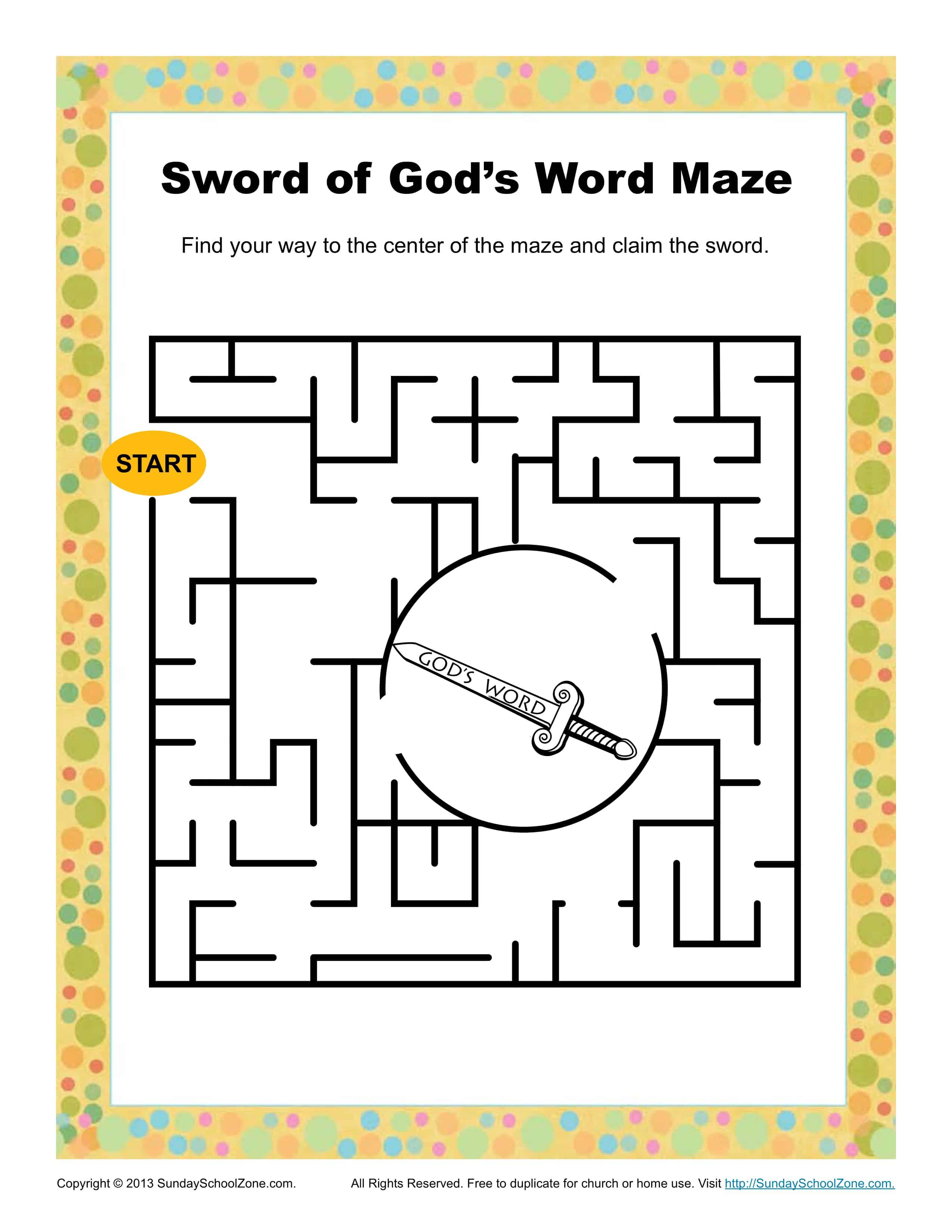 Sword Of God S Word Maze Children S Bible Activities