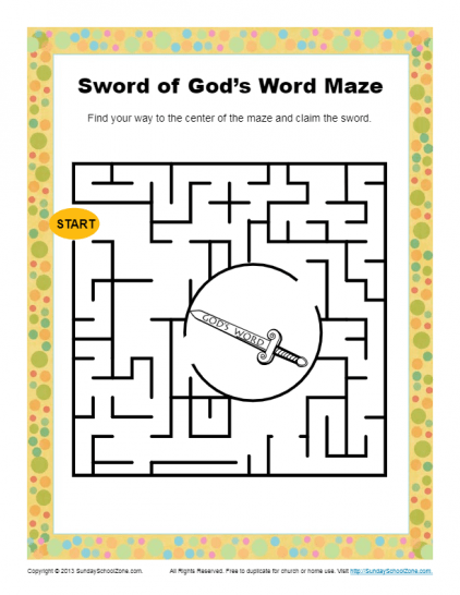 image regarding Printable Mazes for Kindergartners titled Totally free Bible Mazes for Youngsters upon Sunday College or university Zone