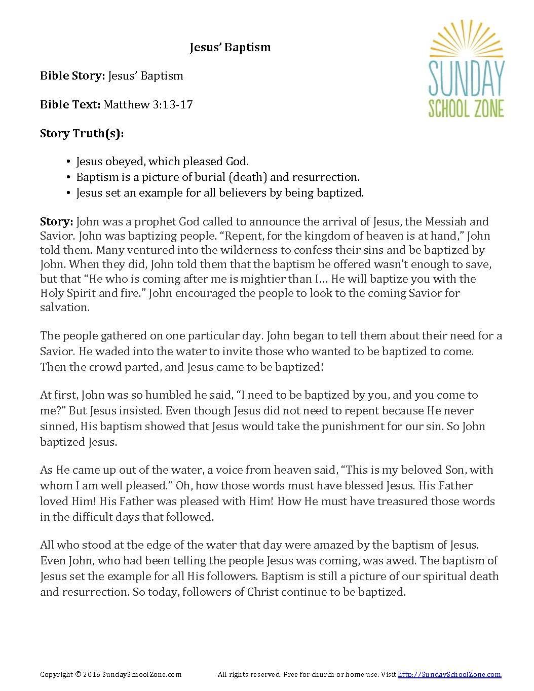 jesus baptism story summary children s bible activities sunday
