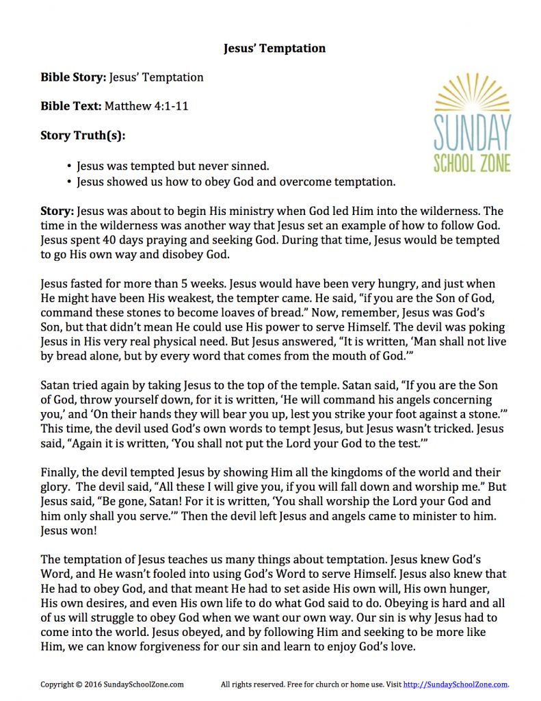 Jesus' Temptation Story Summary - Children's Bible ...