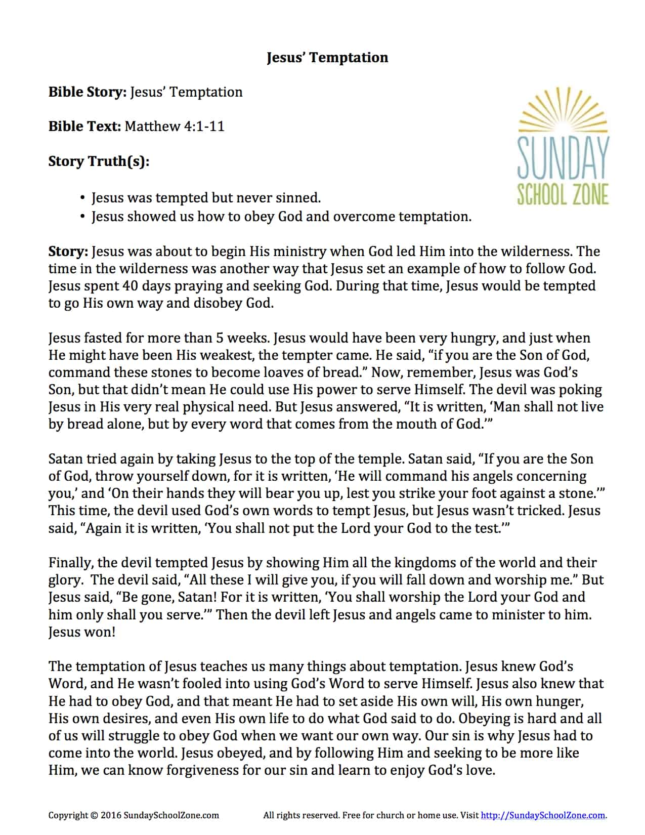 Jesus Temptation Story Summary