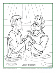 John the Baptist in the River Coloring Page - NetArt | 240x185