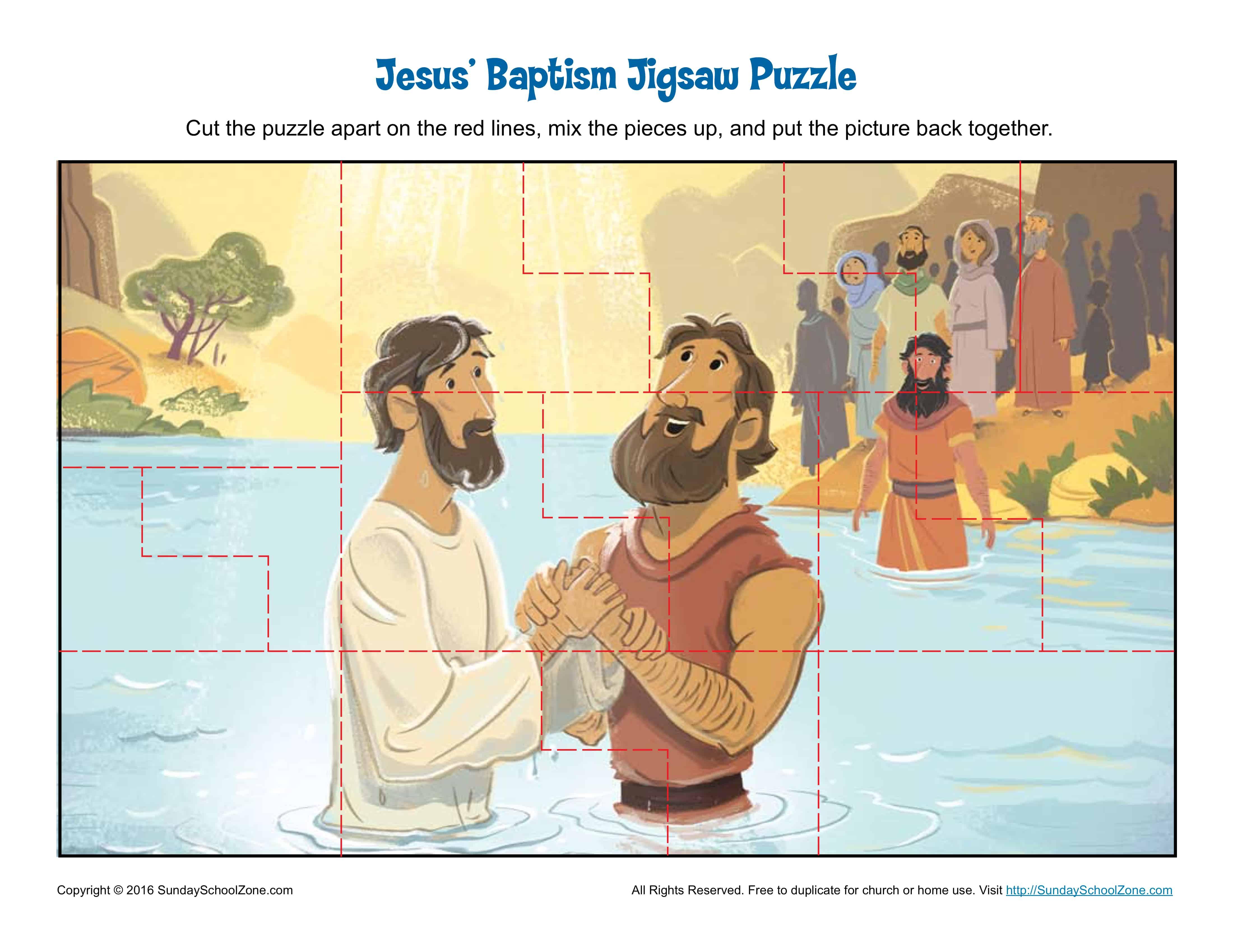 Jesus Baptism Jigsaw Puzzle Children S Bible Activities