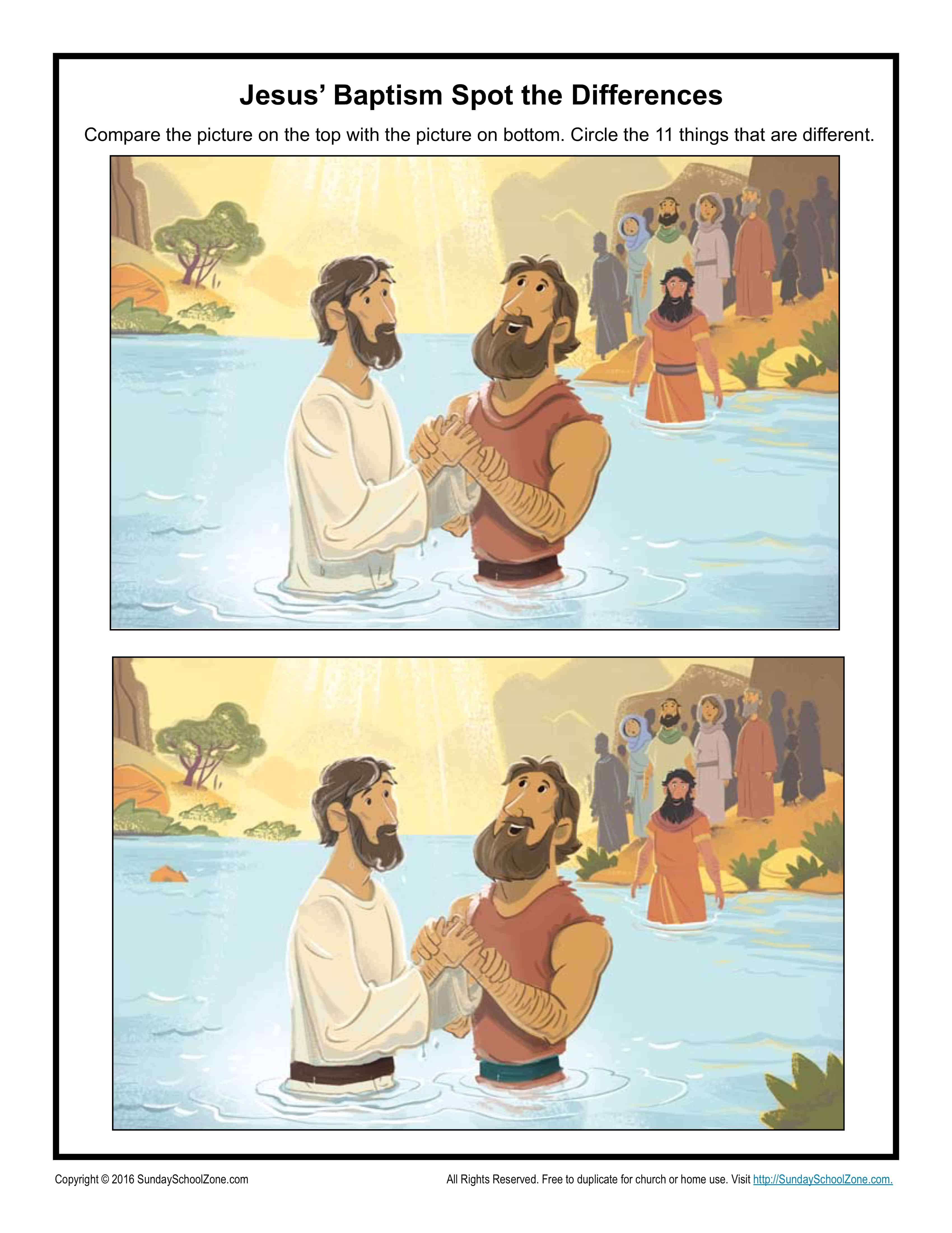 Jesus Baptism Spot The Difference Children S Bible