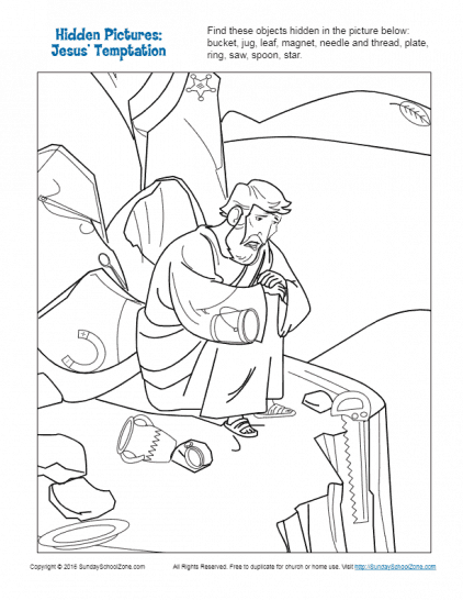 temptation of jesus coloring pages for kids | Hidden Picture Bible Activities for Children on Sunday ...