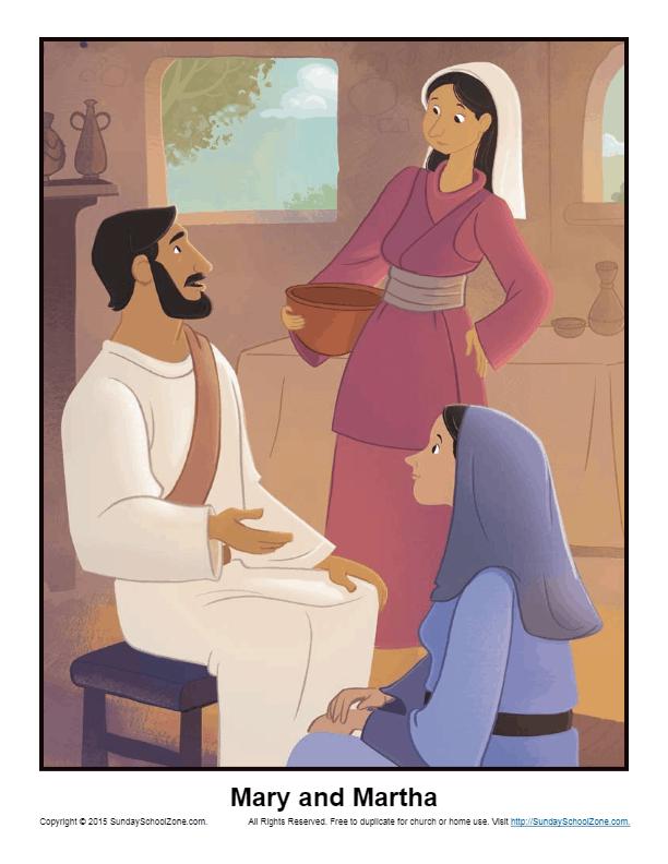 Mary and Martha Story Illustration