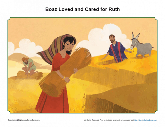 Free, Printable Ruth and Boaz Bible Activities on Sunday