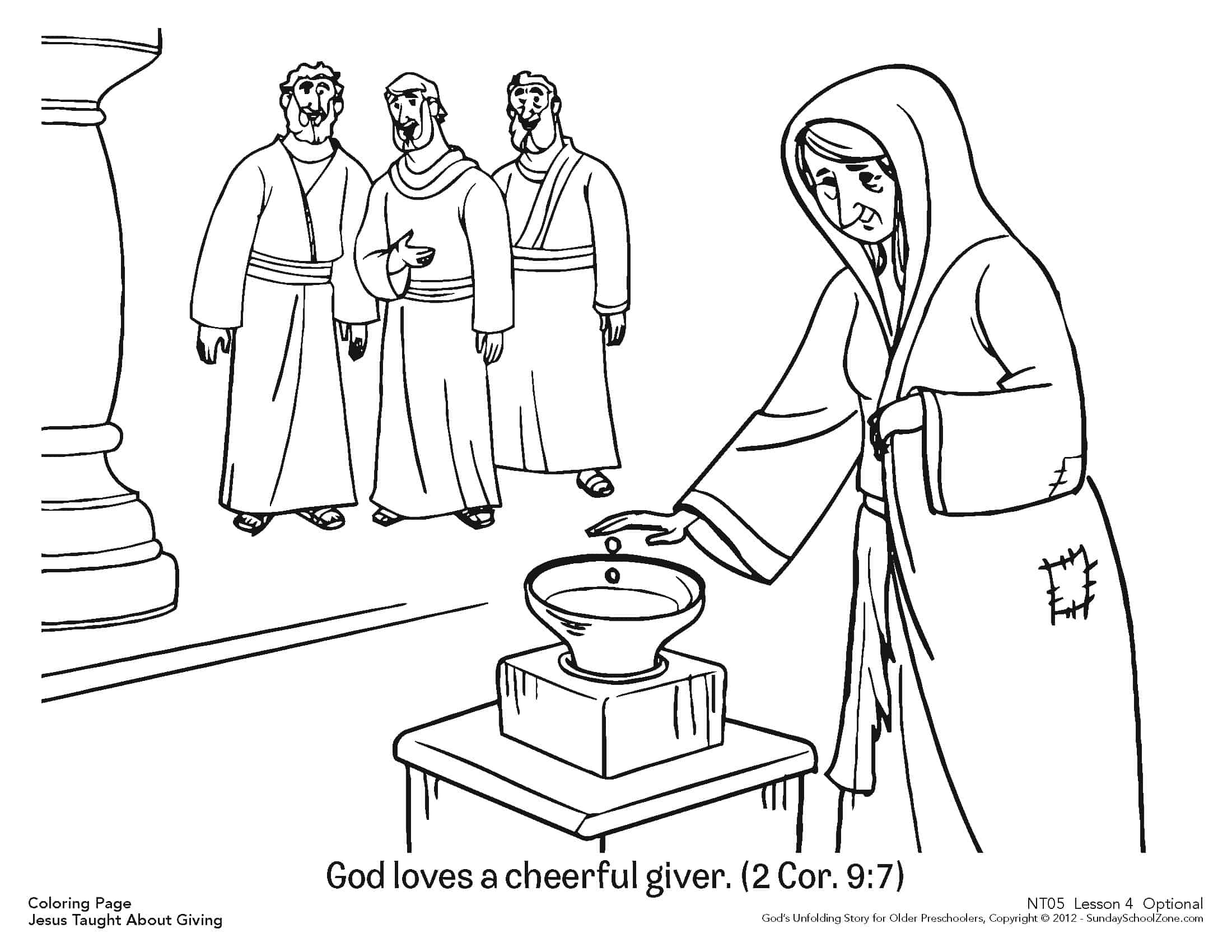 Coloring pages about gving ~ Cheerful Giver Coloring Page