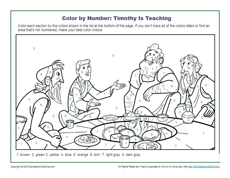 - Color By Number Bible Coloring Pages On Sunday School Zone