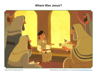 Boy Jesus in the Temple Story Illustration