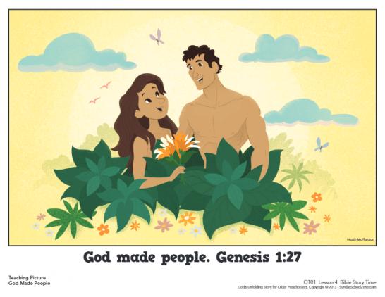 Free, Printable God Made People Bible Activities on Sunday