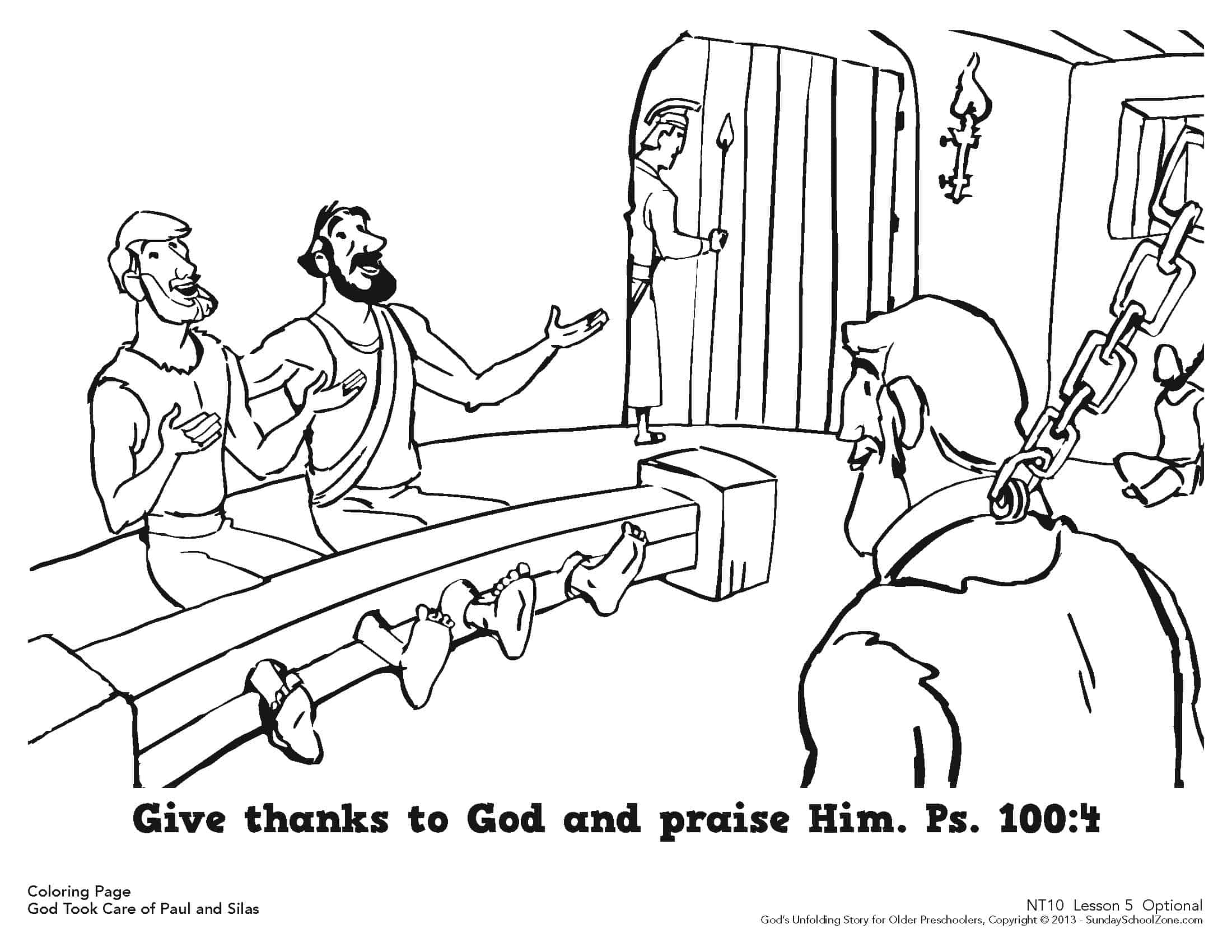 paul and silas were rescued from jail coloring page for kids
